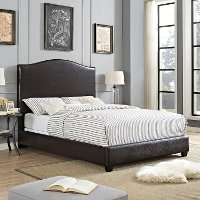 KF705004BR Contemporary Brown Queen Upholstered Bed - Bellingham