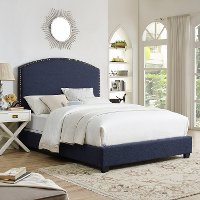 KF705008NV Classic Navy Queen Upholstered Bed - Cassie