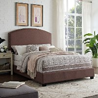 KF706008BO Classic Brown King Upholstered Bed - Cassie