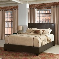 KF705002BR Contemporary Brown Queen Upholstered Bed - Drake
