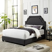 KF706009CL Classic Charcoal Gray King Upholstered Bed - Loren