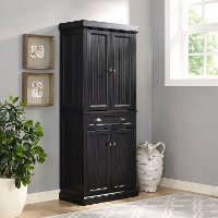 CF3103-BK Distressed Black Kitchen Pantry Cabinet - Seaside