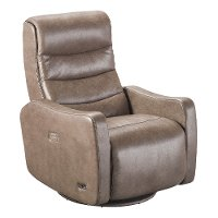 Seal Brown Leather-Match Power Swivel Glider Recliner - Lexie