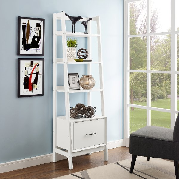 CF1109 WH Small Modern White Bookcase