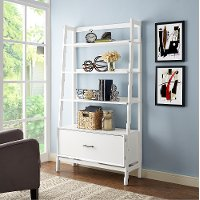 CF1110-WH Large Modern White Bookcase - Landon