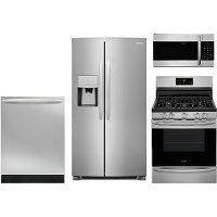 KIT Frigidaire Gallery 4 Piece Kitchen Appliance Package with Gas Range with QuickBake - Stainless Steel