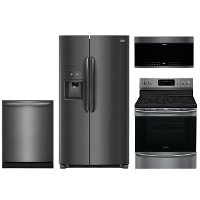 KIT Frigidaire Gallery 4 Piece Electric Kitchen Appliance Package with Side by Side Refrigerator - Black Stainless Steel