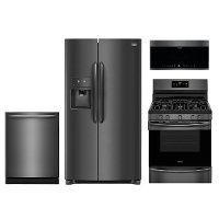 KIT Frigidaire Gallery 4 Piece Kitchen Appliance Package with Gas Range - Black Stainless Steel