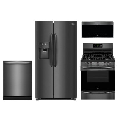 kit frigidaire gallery 4 piece kitchen appliance package with gas range   black stainless steel frigidaire gallery 4 piece kitchen appliance package with gas      rh   rcwilley com