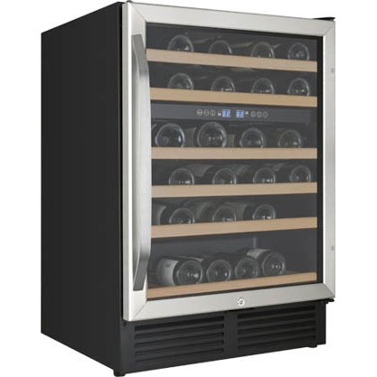 Avanti 49 Bottle Wide Built In Dual Zone Wine Chiller 24 Inch Stainless Steel And Black Rc Willey Furniture