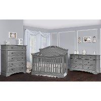808-SGY Traditional Storm Gray 5-in-1 Convertible Crib - Adora