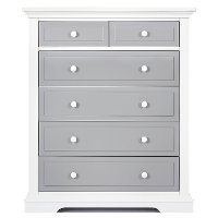 844-WPG Gray and White 6-Drawer Chest - Parker