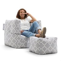 0670634 Contemporary Gray Bean Bag Chair and Ottoman - Cube