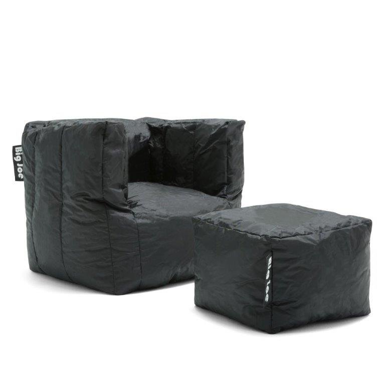 Contemporary Black Bean Bag Chair And Ottoman Cube Rc Willey Furniture