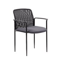 Gray Stackable Mesh Guest Chair