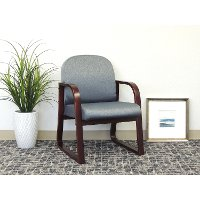 Gray/Brown Sled Base Reception Chair