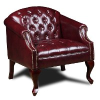 Red Button-Tufted Chair