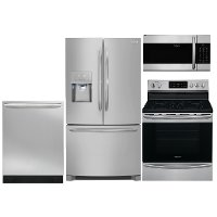 KIT Frigidaire 4 Piece Electric Kitchen Appliance Package with French Door Refrigerator - Stainless Steel