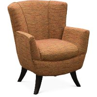 Transitional Red-Orange Club Accent Chair - Bethany