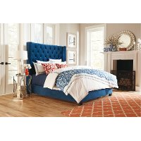 Traditional Blue King Upholstered Bed - Westerly