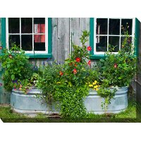 Tub Of Flowers Patio Canvas Outdoor-Indoor Wall Art