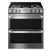 LUTG4519SN LG Signature Slide-in Gas Range with Double Oven - Textured Steel