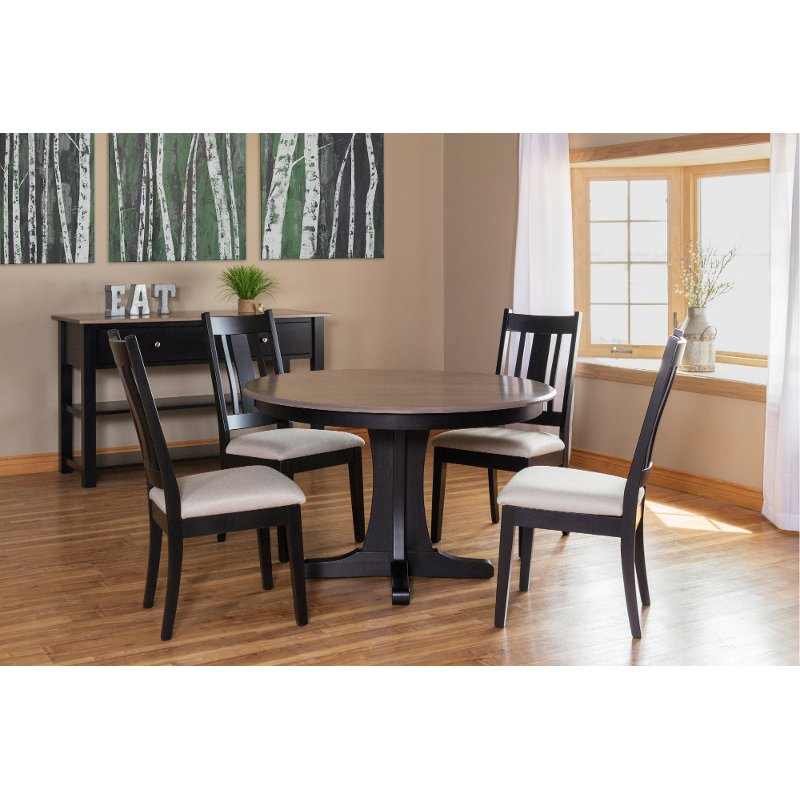 Maple And Black 5 Piece Round Dining Set Sterling Rc Willey Furniture