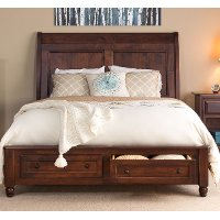 Classic Maple Brown 4 Piece Queen Storage Bed - Charlton