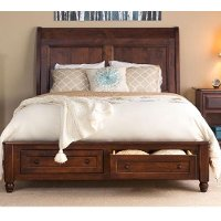 Classic Maple Brown 4 Piece King Storage Bed - Charlton