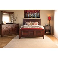 Classic Cherry Brown 4 Piece Queen Bedroom Set - Brentwood