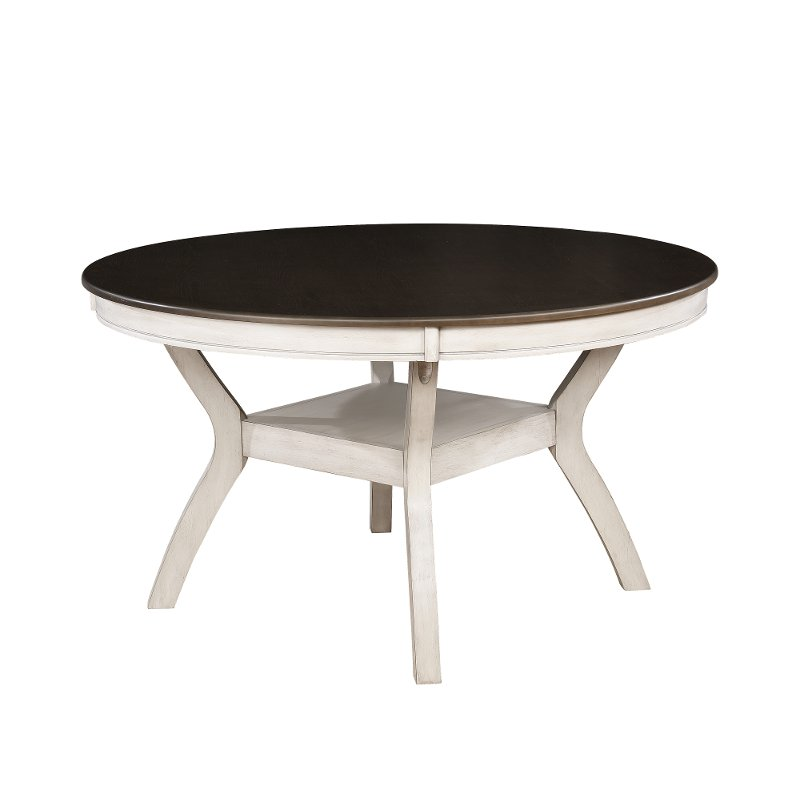 White and Brown Round Dining Table - Perrin