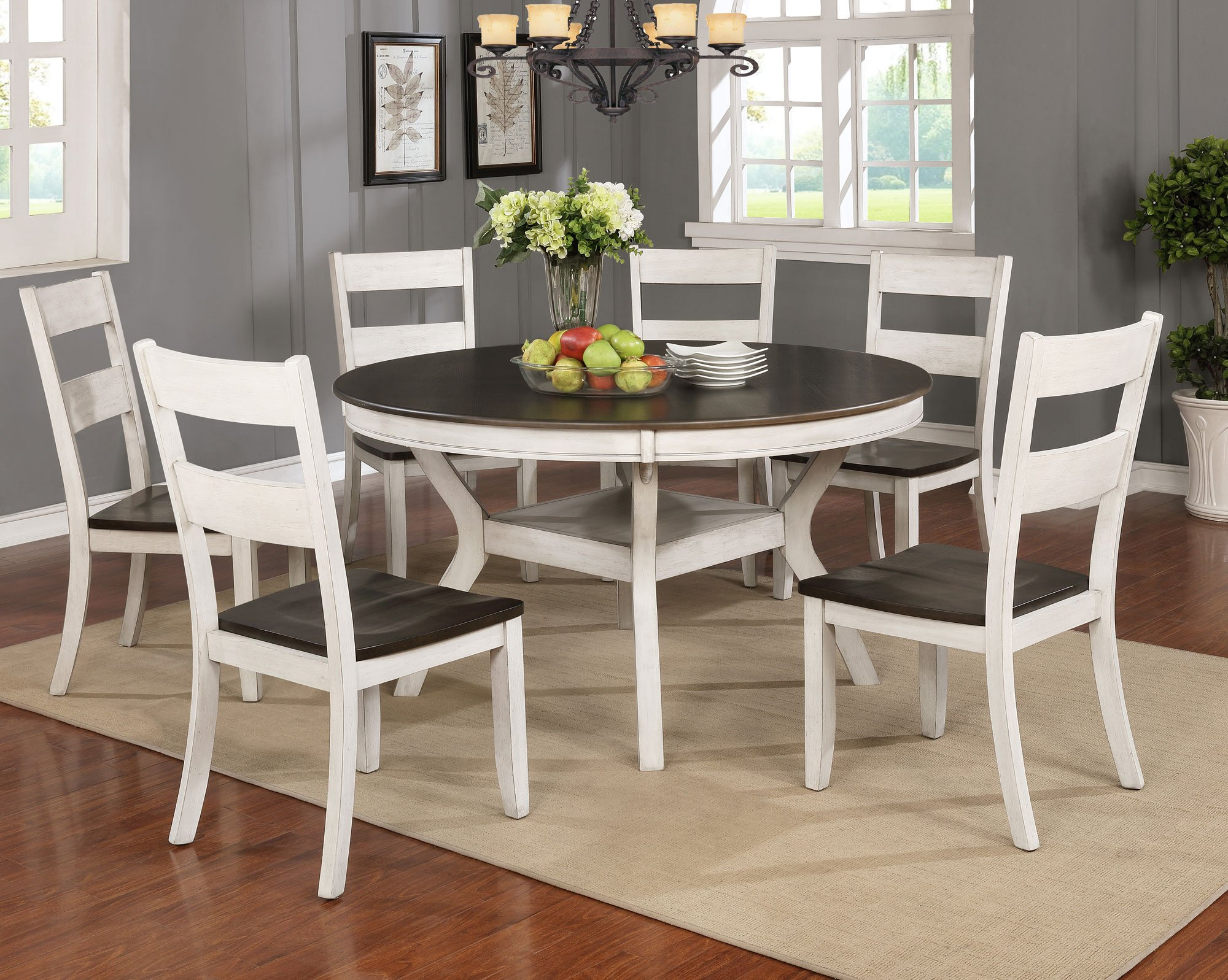 white and brown 7 piece dining set - perrin | rc willey furniture store