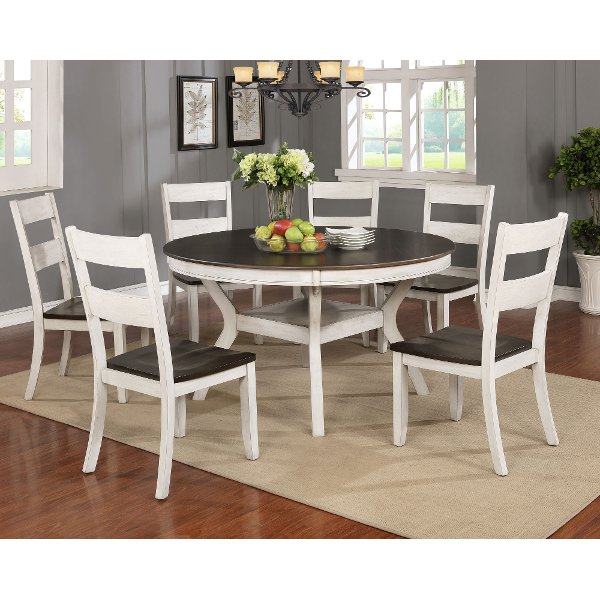 ... White And Brown 7 Piece Dining Set   Perrin