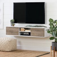 11505 White and Weathered Oak Wide Wall Mounted Media Console - Agora