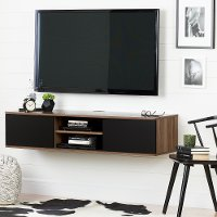 11506 Natural Walnut and Black Wall Mounted Medial Console - Agora