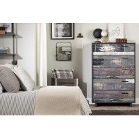 11755 Modern Industrial Gray Oak Chest of Drawers - Fynn