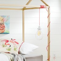 100340 White Teardrop Shade with Pink Cord Fixture