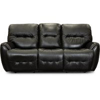 Black Leather-Match Power Reclining Sofa - Blaise