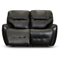Black Leather-Match Power Reclining Loveseat - Blaise