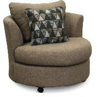 Casual Contemporary Pine Tweed Swivel Chair - Emerson
