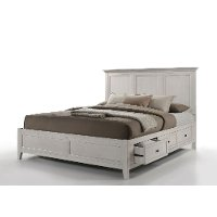 Casual Classic Rustic White Queen Storage Bed - St. Mortiz