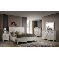 Casual Classic Rustic White 4 Piece King Bedroom Set - St. Mortiz