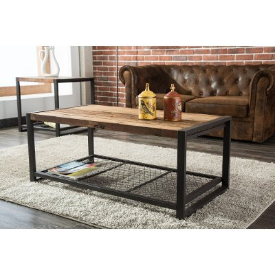 Metal Reclaimed Wood Coffee Table Brixton RC Willey Furniture Store