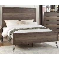 Modern Industrial Gray Queen Bed - Urbanite