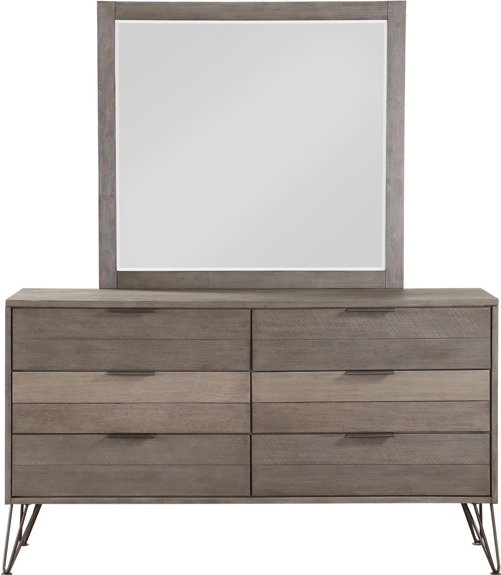 Modern industrial gray 6 piece king bedroom set urbanite - Industrial bedroom furniture sets ...