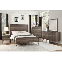 Modern Industrial Gray 4 Piece Queen Bedroom Set - Urbanite