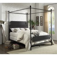 Classic Industrial Bronze Queen Metal Canopy Bed - Maddie