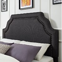 CF90009-601CL Classic Charcoal Gray King Upholstered Headboard - Loren