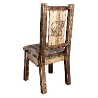 MWHCKSCNSLLZBEAR Rustic Laser Engraved Bear Dining Chair - Homestead