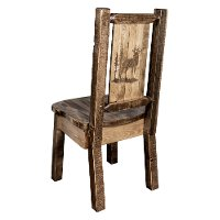 MWHCKSCNSLLZELK Rustic Laser Engraved Elk Dining Chair - Homestead